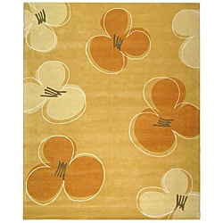 Handmade Soho Daisy Gold New Zealand Wool Rug (9'6 x 13'6)