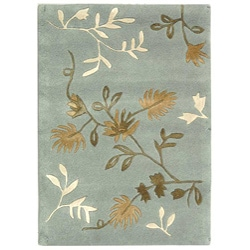 Handmade Soho Twigs Light Blue New Zealand Wool Rug (2' x 3')