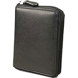 Romano Series Zip-around Soft Nappa Italian Black Leather Men's Wallet