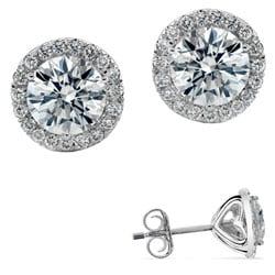 14k White Gold 1/2ct TDW Diamond Halo Stud Earring (G-H, I2)