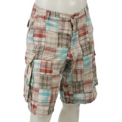 FINAL SALE Tailor Vintage Men's Patchwork Madras Cargo Shorts