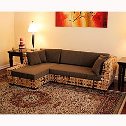 Living Room Sets on San Pedro Indoor Wicker Sectional Living Room Set   Overstock Com