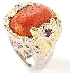 Michael Valitutti Palladium Silver Sponge Coral Ring