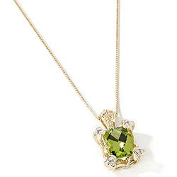 Michael Valitutti 14k Gold Peridot and Diamond Necklace