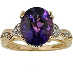 Michael Valitutti 14k Gold Amethyst and Diamond Ring