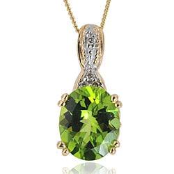 Michael Valitutti 14k Gold Peridot and Diamond Necklace