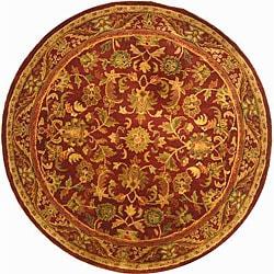 Safavieh Handmade Exquisite Wine/ Gold Wool Rug (3'6 Round)
