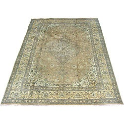 Persian Antique Tabriz Brown/ Beige Rug (8'4 x 11'3)