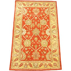 Indo Mahal Tufted Rust/ Gold Rug (3'3 x 5'3)