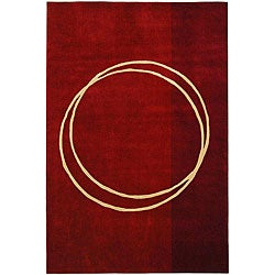 Handmade Rodeo Drive Circle of Life Red/ Ivory N.Z. Wool Rug (9'6 x 13'6)