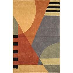 Handmade Rodeo Drive Krave Blue/ Rust N.Z. Wool Rug (5' x 8')