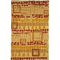 """Safavieh Handmade Rodeo Drive Beige/ Rust N.Z. Wool Rug (7' 6"""" x 9' 6"""")"""