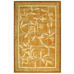 Handmade Rodeo Drive Manor Gold/ Ivory N.Z. Wool Rug (9'6 x 13'6)