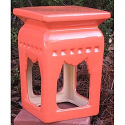 Chinese Square Orange Ceramic Stool