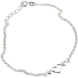Sterling Essentials Sterling Silver 9-inch Triple Hearts Anklet