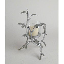 Small Silvertone Leaf Candle Holder