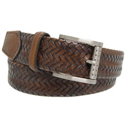 Joseph Abboud Men's Brown Leather Woven Belt
