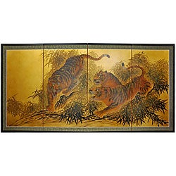 Gold Leaf 'Tigers on the Move' Silk Painting (China)