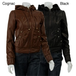 Miss Sixty Women s Faux Leather Jacket with Hood - Overstock