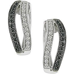 10k Gold 1/3ct TDW Black/ White Diamond Earrings (I-J, I2-I3)