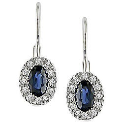 10k White Gold Oval Sapphire and 1/8ct TDW Diamond Earrings