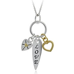 Mondevio Sterling Silver Two-tone Love and Heart Necklace