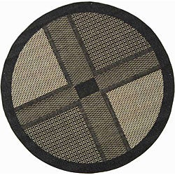 Indoor/ Outdoor Lakeview Black/ Sand Rug (5'3 Round)