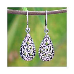 Sterling Silver 'Forest Tear' Dangle Earrings (Thailand)