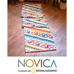 Peruvian Wool &#39;Rainbow Cascade&#39; Runner Rug (2&#39; x 10&#39;)