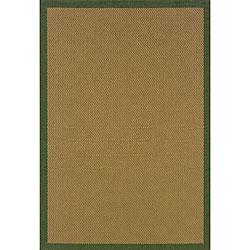 Textured Beige/ Green Indoor/ Outdoor Rug (5'3 x 7'6)