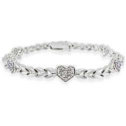DB Designs Sterling Silver Diamond Accent Heart Bracelet