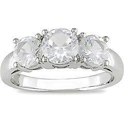 10k White Gold Created White Sapphire 3-stone Ring