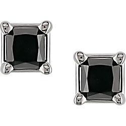 Miadora 14k White Gold 2ct TDW Black Diamond Princess Studs