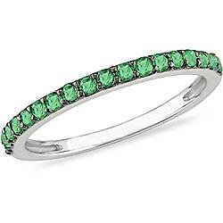 10k White Gold Emerald Semi-Eternity Ring