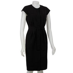 Calvin Klein Women's Black Snap-front Cap Sleeve Dress