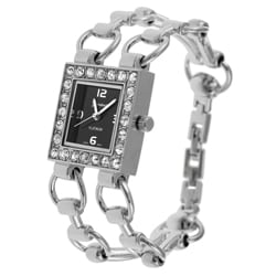 Geneva Platinum Women's CZ-lined Square Watch