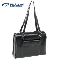 McKlein Black Glenview Italian Leather Laptop Case