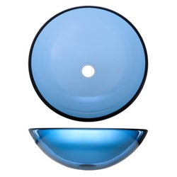 Geyser Blue Tinted Tempered Glass Bathroom Vessel Sink