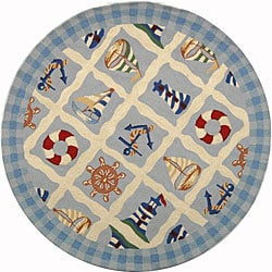 Hand-hooked Sailor Ivory Wool Rug (4' Round)