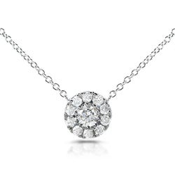 14k White Gold 1/3ct TDW Round Diamond Halo Necklace (H-I, I1-I2)