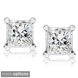 14k Gold 1/2ct TDW Princess-cut Diamond Stud Earrings (G-H, SI1-SI2)