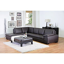 Angela Dark Brown 2-piece Leather Sectional Sofa