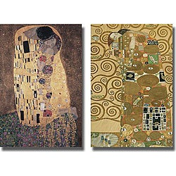 Klimt 'The Kiss and Fulfillment' 2-piece Canvas Art
