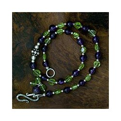 Silver Amethyst Peridot 'Mystical Alliance' Anklet (India)