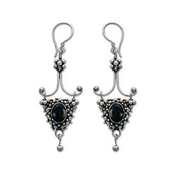 Sterling Silver 'Black Iris' Onyx Drop Earrings (Indonesia)