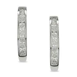 10k White Gold 1/4ct TDW Diamond Hoop Earrings (J-K, I3)