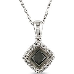 Miadora 10k Gold 1/2ct TDW Black and White Diamond Halo Pendant (I-J, I2)