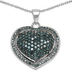 Malaika Sterling Silver 1 1/5ct TDW Blue Diamond Heart Necklace