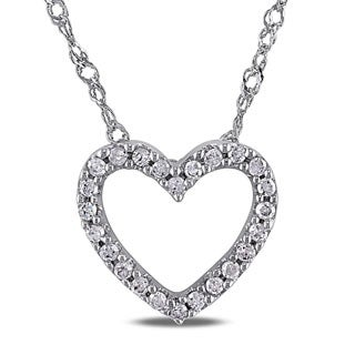 Haylee Jewels 14k White Gold 1/10ct TDW Diamond Heart Necklace
