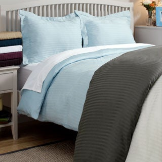 Wrinkle-resistant 300tc Cotton Reversible Solid/Stripe Duvet Cover Set